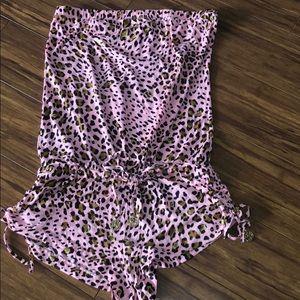 Luli Fama Pink Leopard romper coverup